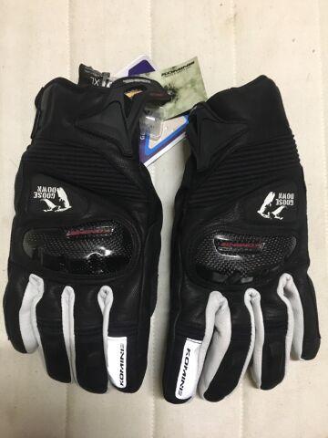 мотоперчатки Komine GK-796, чёрно-белые, XL