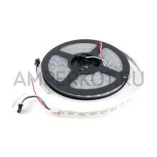 RGB LED лента с адресными светодиодами WS2812B 5 метров (60 светодиодов на метр), Белая основа IP67