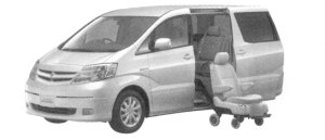 Toyota Alphard HYBRID Welcab, Side Lift-up Seat Car (Detachable type) 2004 г.