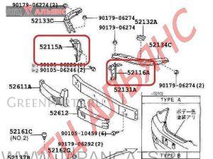 Крепление бампера на Toyota Mark II JZX110 1JZ-FSE